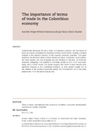 The Importance Of Terms Of Trade In The Colombian Economy
